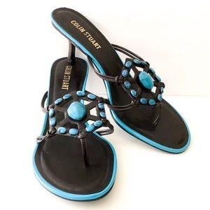 Colin Stuart stone embellished kitten heels